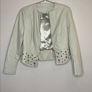 Forever 21 | Cream Vegan Leather Studded Jacket